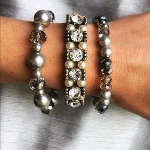 3 Glamorous pearl and Crystal bracelets